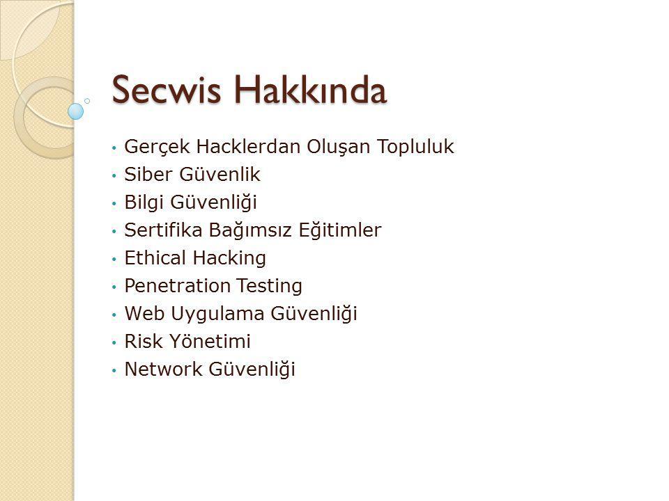 Secwis Hakkında Gerçek Hacklerdan Oluşan Topluluk Siber Güvenlik Bilgi Güvenliği Sertifika Bağımsız Eğitimler Ethical Hacking Penetration Testing Web Uygulama Güvenliği Risk Yönetimi Network Güvenliği