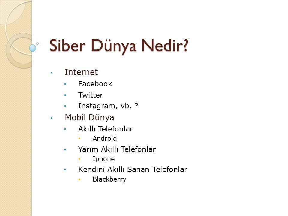 Siber Dünya Nedir.Internet Facebook Twitter Instagram, vb.