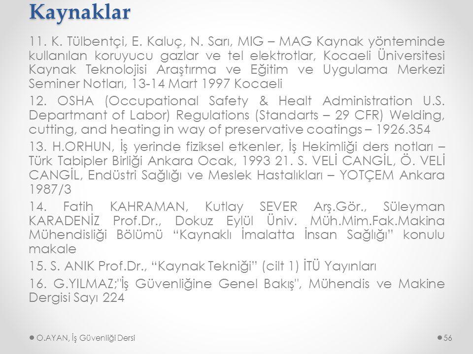 Kaynaklar 11. K. Tülbentçi, E. Kaluç, N. Sarı, MIG – MAG Kaynak yönteminde kullanılan koruyucu gazlar ve tel elektrotlar, Kocaeli Üniversitesi Kaynak