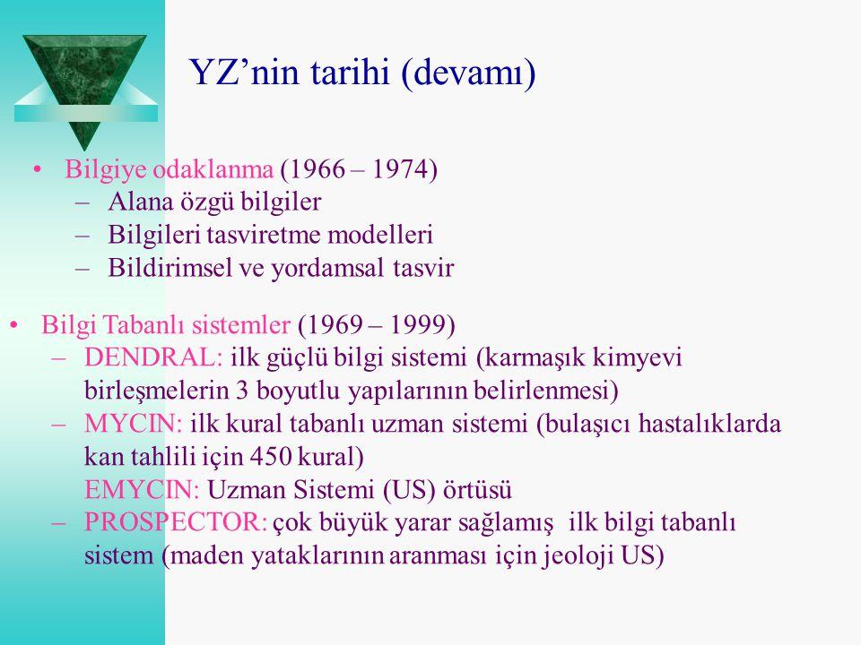 Bilgi Tabanlı sistemler (1969 – 1999) –DENDRAL: ilk güçlü bilgi sistemi (karmaşık kimyevi birleşmelerin 3 boyutlu yapılarının belirlenmesi) –MYCIN: il