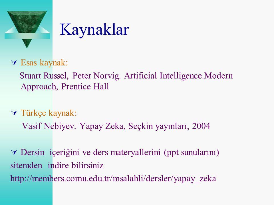Kaynaklar  Esas kaynak: Stuart Russel, Peter Norvig. Artificial Intelligence.Modern Approach, Prentice Hall  Türkçe kaynak: Vasif Nebiyev. Yapay Zek