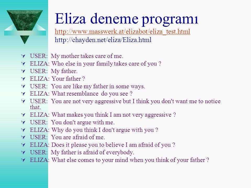 Eliza deneme programı http://www.masswerk.at/elizabot/eliza_test.html http://chayden.net/eliza/Eliza.html http://www.masswerk.at/elizabot/eliza_test.h