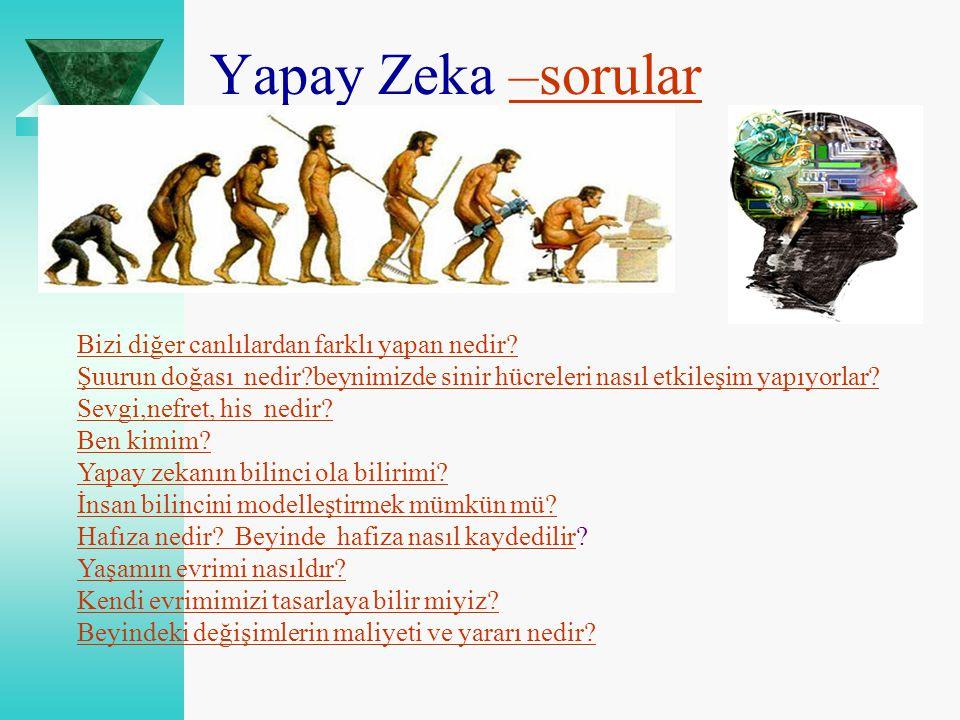 Yapay Zeka –sorular–sorular Bizi diğer canlılardan farklı yapan nedir? Şuurun doğası nedir?beynimizde sinir hücreleri nasıl etkileşim yapıyorlar? Sevg