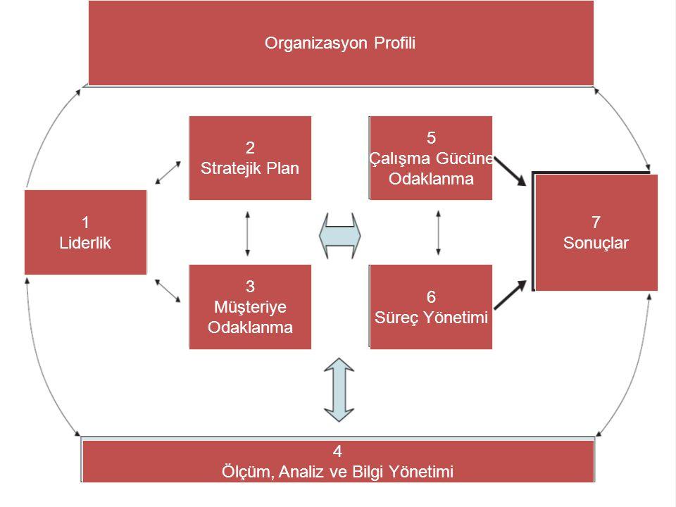 34 1 Liderlik 2 Stratejik Plan 3 Müşteriye Odaklanma 5 Çalışma Gücüne Odaklanma 6 Süreç Yönetimi 7 Sonuçlar 4 Ölçüm, Analiz ve Bilgi Yönetimi Organiza