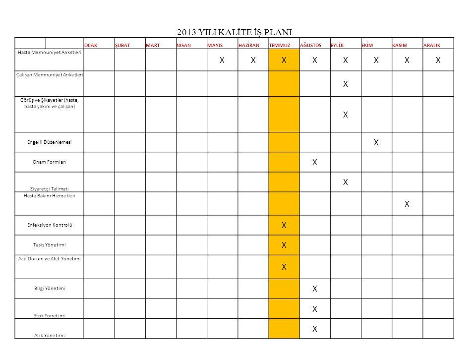 2013 YILI KALİTE İŞ PLANI OCAKŞUBATMARTNİSANMAYISHAZİRANTEMMUZAĞUSTOSEYLÜLEKİMKASIMARALIK Hasta Memnuniyet Anketleri XXXXXXXX Çalışan Memnuniyet Anket