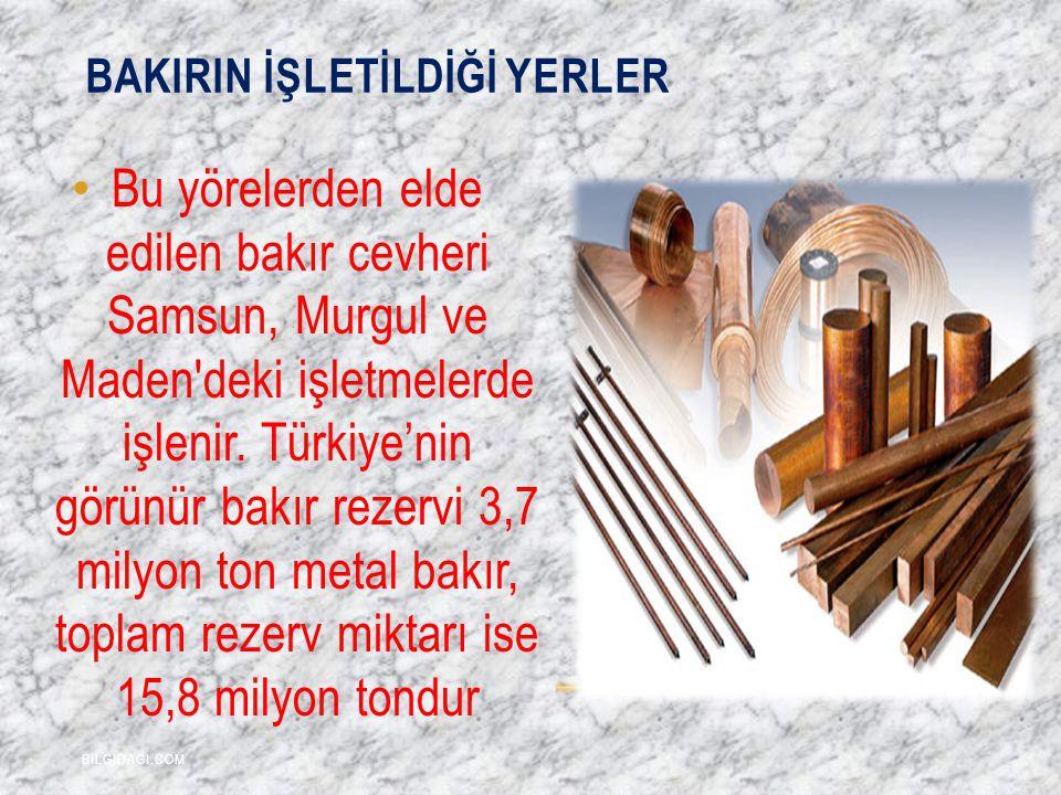 BAKIRIN İŞLETİLDİĞİ YERLER Bu yörelerden elde edilen bakır cevheri Samsun, Murgul ve Maden'deki işletmelerde işlenir. Türkiye'nin görünür bakır rezerv