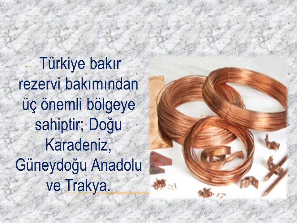 . Türkiye bakır rezervi bakımından üç önemli bölgeye sahiptir; Doğu Karadeniz, Güneydoğu Anadolu ve Trakya. BILGIDAGI.COM