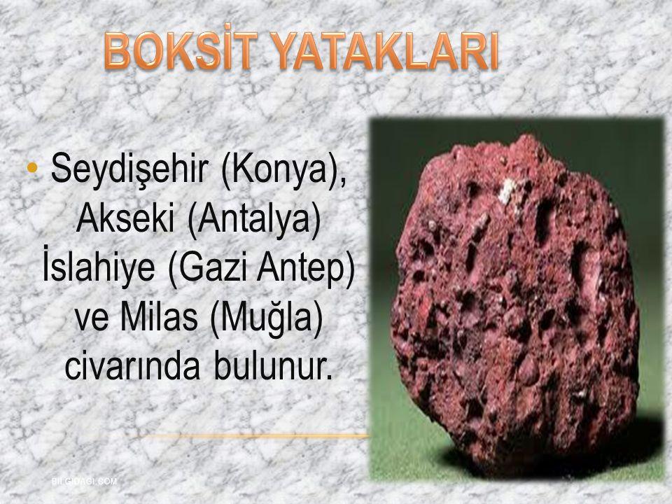 Seydişehir (Konya), Akseki (Antalya) İslahiye (Gazi Antep) ve Milas (Muğla) civarında bulunur. BILGIDAGI.COM