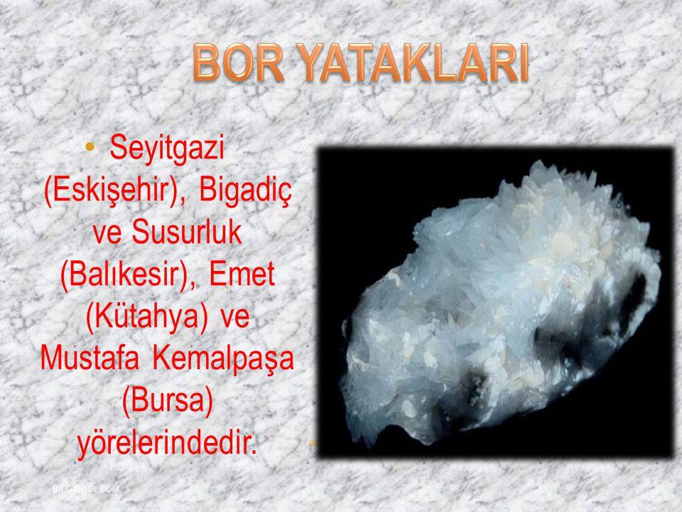 Seyitgazi (Eskişehir), Bigadiç ve Susurluk (Balıkesir), Emet (Kütahya) ve Mustafa Kemalpaşa (Bursa) yörelerindedir. BILGIDAGI.COM