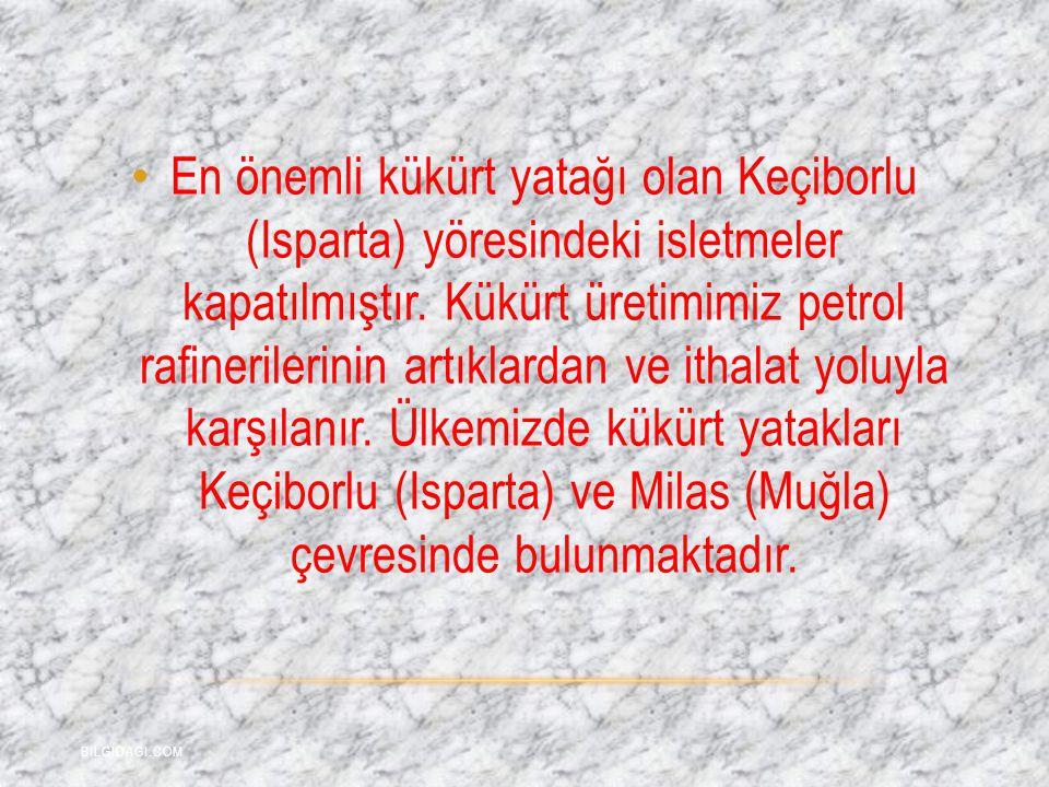 En önemli kükürt yatağı olan Keçiborlu (Isparta) yöresindeki isletmeler kapatılmıştır. Kükürt üretimimiz petrol rafinerilerinin artıklardan ve ithalat