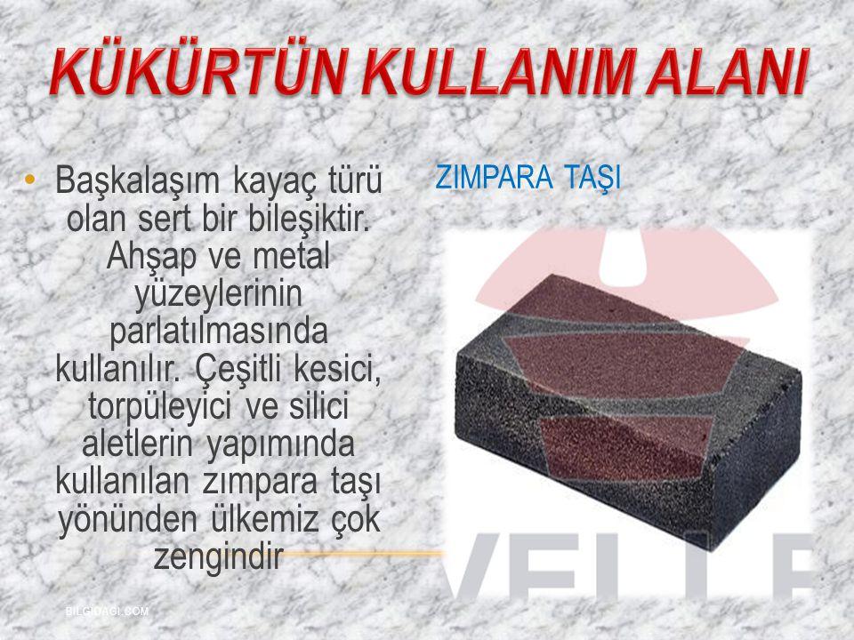 Başkalaşım kayaç türü olan sert bir bileşiktir. Ahşap ve metal yüzeylerinin parlatılmasında kullanılır. Çeşitli kesici, torpüleyici ve silici aletleri