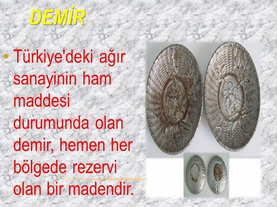 DEMİR Türkiye'deki ağır sanayinin ham maddesi durumunda olan demir, hemen her bölgede rezervi olan bir madendir. BILGIDAGI.COM