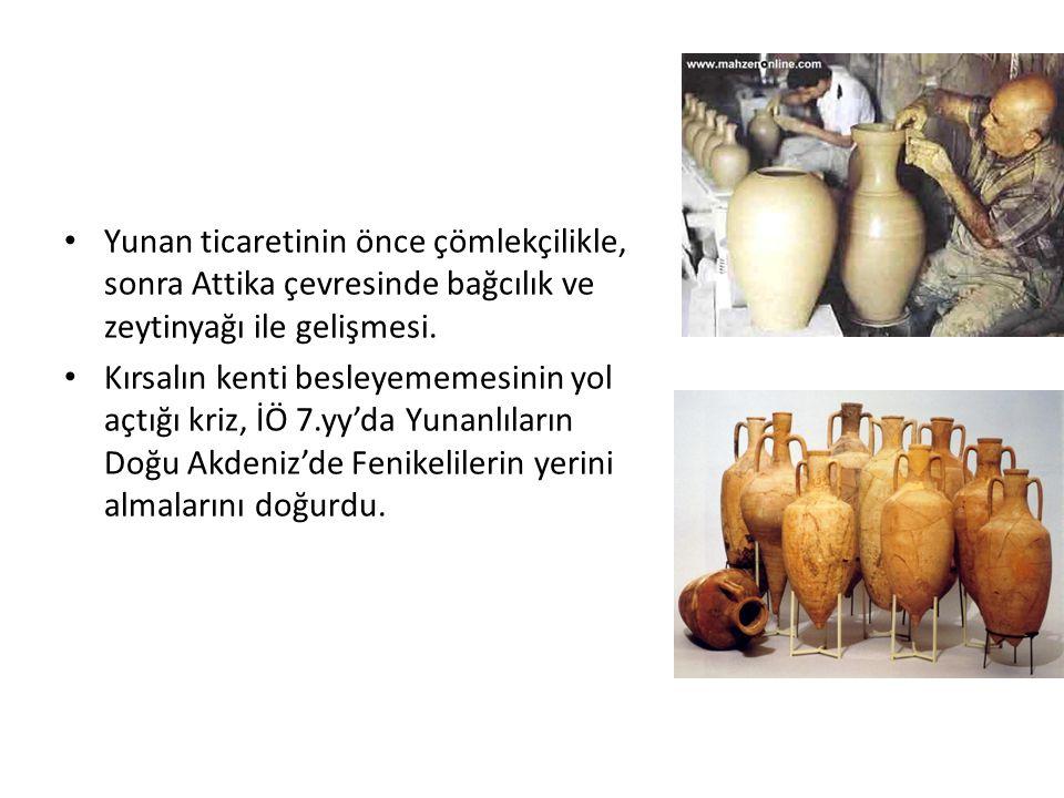 Yunan ticaretinin önce çömlekçilikle, sonra Attika çevresinde bağcılık ve zeytinyağı ile gelişmesi.