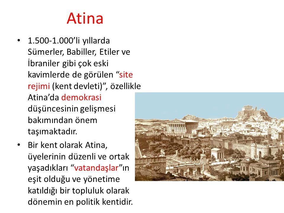 Atina 1.500-1.000'li yıllarda Sümerler, Babiller, Etiler ve İbraniler gibi çok eski kavimlerde de görülen site rejimi (kent devleti) , özellikle Atina'da demokrasi düşüncesinin gelişmesi bakımından önem taşımaktadır.