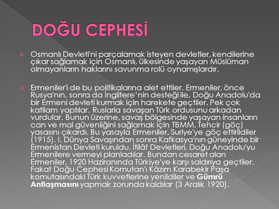  Ermeniler işgal ettikleri yerleri boşalttılar.Kars ve çevresi Türkiye ye bırakıldı.