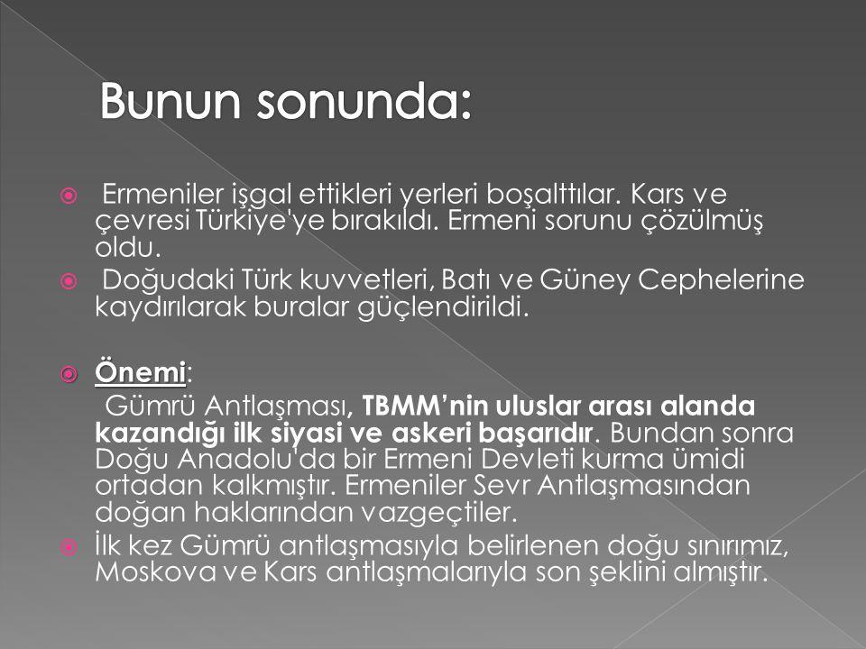  Ermeniler işgal ettikleri yerleri boşalttılar. Kars ve çevresi Türkiye'ye bırakıldı. Ermeni sorunu çözülmüş oldu.  Doğudaki Türk kuvvetleri, Batı v