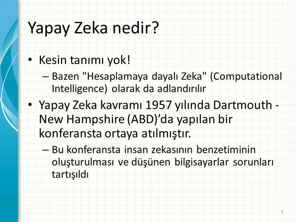 Yapay Zeka (YZ) Örnekleri 1991 Körfez savaşında, Amerika tüm lojistik planlamasını YZ yazılımlarına yaptırdı.