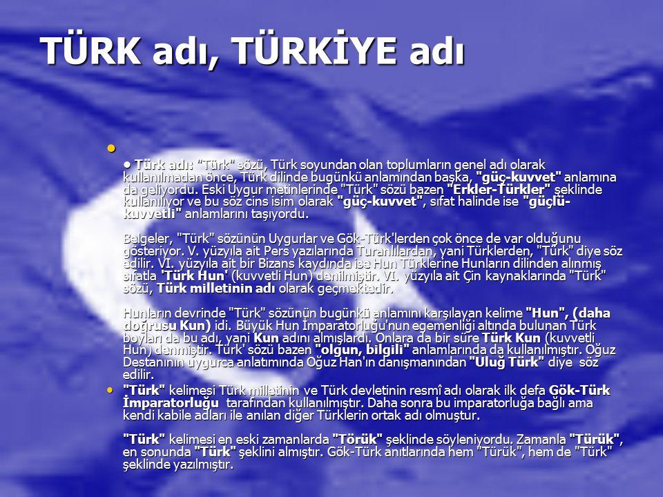TÜRK adı, TÜRKİYE adı Türk adı: