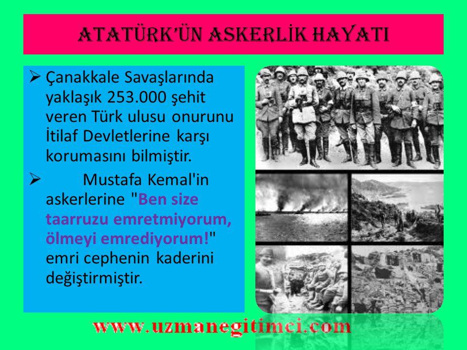 ATATÜRK'ÜN ASKERL İ K HAYATI  25 Nisan 1915'te Arıburnu'na çıkan düşman kuvvetlerini, Mustafa Kemal'in komuta ettiği 19. Tümen Conkbayırı'nda durdurd