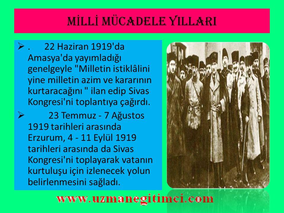 KURTULU Ş UN BA Ş LANGICI:SAMSUN Mustafa Kemal 9. Ordu Müfettişi olarak 19 Mayıs 1919'da Samsun'a çıktı.