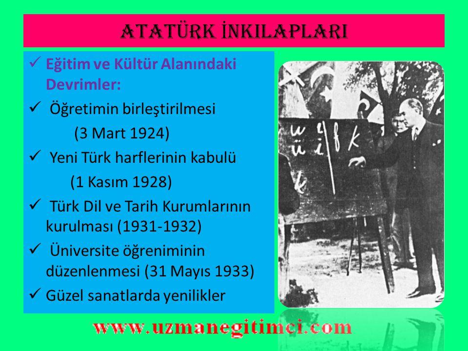 ATATÜRK İ NKILAPLARI Hukuk Devrimi :  Mecellenin kaldırılması (1924-1937)  Türk Medeni Kanunu ve diğer kanunların çıkarılarak laik hukuk düzenine ge