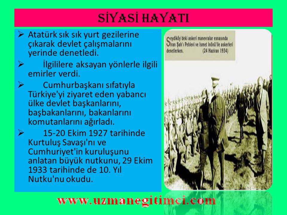 S İ YAS İ HAYATI  Atatürk, 24 Nisan 1920 ve 13 Ağustos 1923 tarihlerinde TBMM Başkanlığına seçildi. Bu başkanlık görevi, Devlet-Hükümet Başkanlığı dü