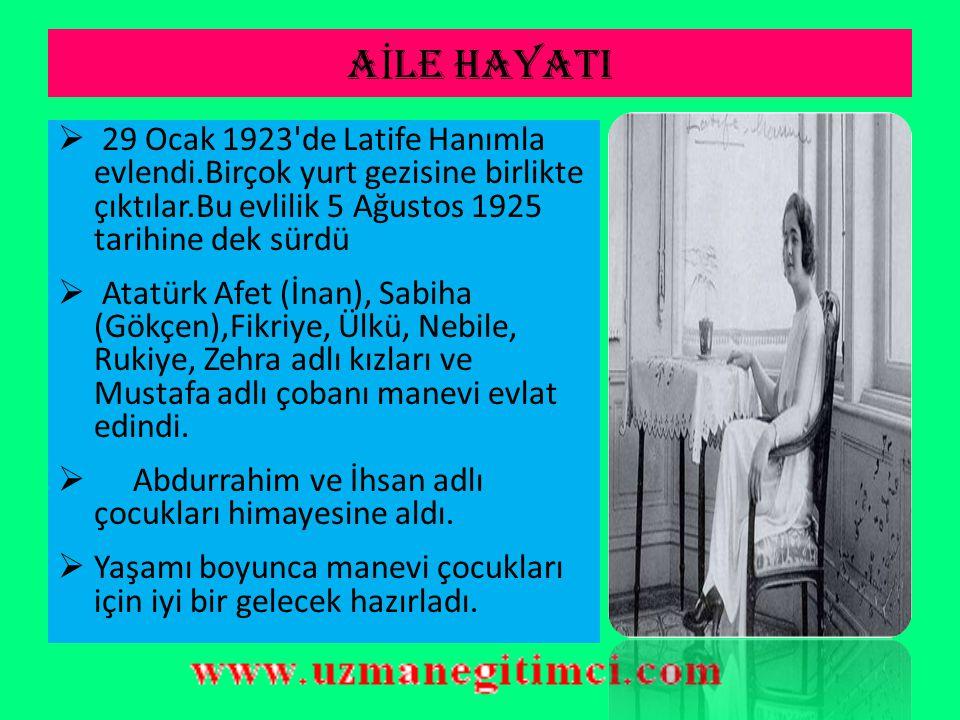 S İ YAS İ HAYATI  Atatürk sık sık yurt gezilerine çıkarak devlet çalışmalarını yerinde denetledi.  İlgililere aksayan yönlerle ilgili emirler verdi.