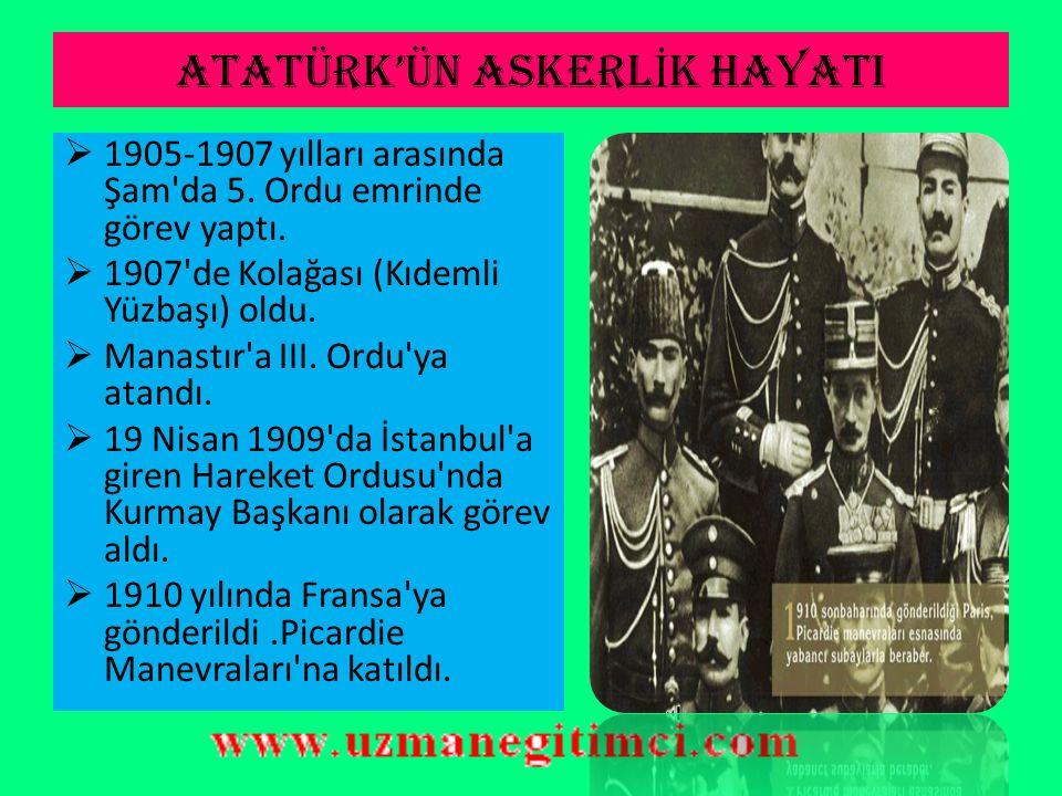 ATATÜRK'ÜN E Ğİ T İ M HAYATI  1896-1899 yıllarında Manastır Askeri İdadi'sini bitirip, İstanbul'da Harp Okulunda öğrenime başladı. 1902 yılında teğme