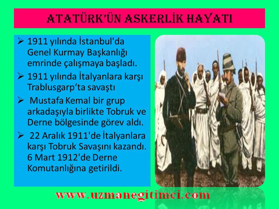ATATÜRK'ÜN ASKERL İ K HAYATI  1905-1907 yılları arasında Şam'da 5. Ordu emrinde görev yaptı.  1907'de Kolağası (Kıdemli Yüzbaşı) oldu.  Manastır'a