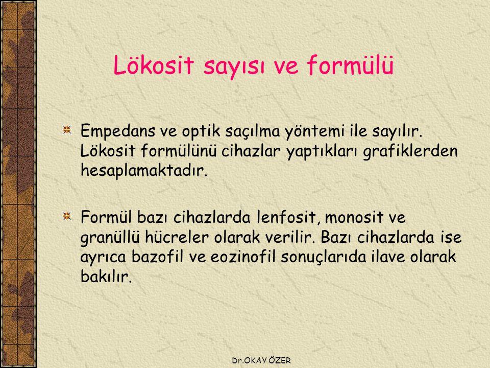 Dr.OKAY ÖZER Lökosit sayısı ve formülü Empedans ve optik saçılma yöntemi ile sayılır.