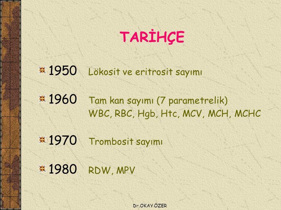Dr.OKAY ÖZER TARİHÇE 1950 Lökosit ve eritrosit sayımı 1960 Tam kan sayımı (7 parametrelik) WBC, RBC, Hgb, Htc, MCV, MCH, MCHC 1970 Trombosit sayımı 1980 RDW, MPV