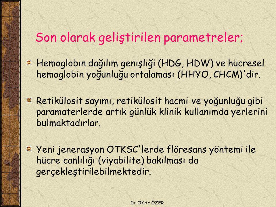 Dr.OKAY ÖZER Son olarak geliştirilen parametreler; Hemoglobin dağılım genişliği (HDG, HDW) ve hücresel hemoglobin yoğunluğu ortalaması (HHYO, CHCM) dir.