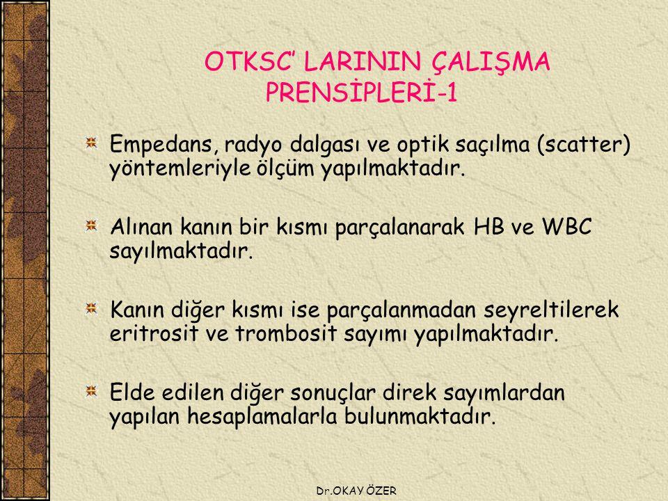 Dr.OKAY ÖZER OTKSC' LARININ ÇALIŞMA PRENSİPLERİ-1 Empedans, radyo dalgası ve optik saçılma (scatter) yöntemleriyle ölçüm yapılmaktadır.