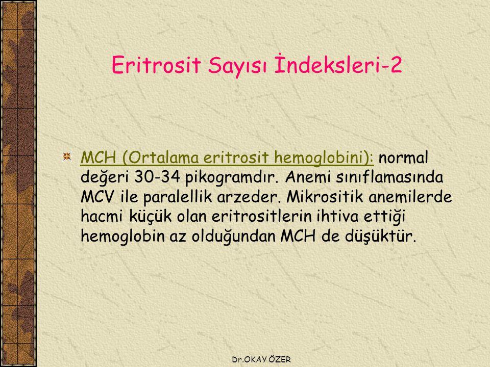 Dr.OKAY ÖZER Eritrosit Sayısı İndeksleri-2 MCH (Ortalama eritrosit hemoglobini): normal değeri 30-34 pikogramdır.