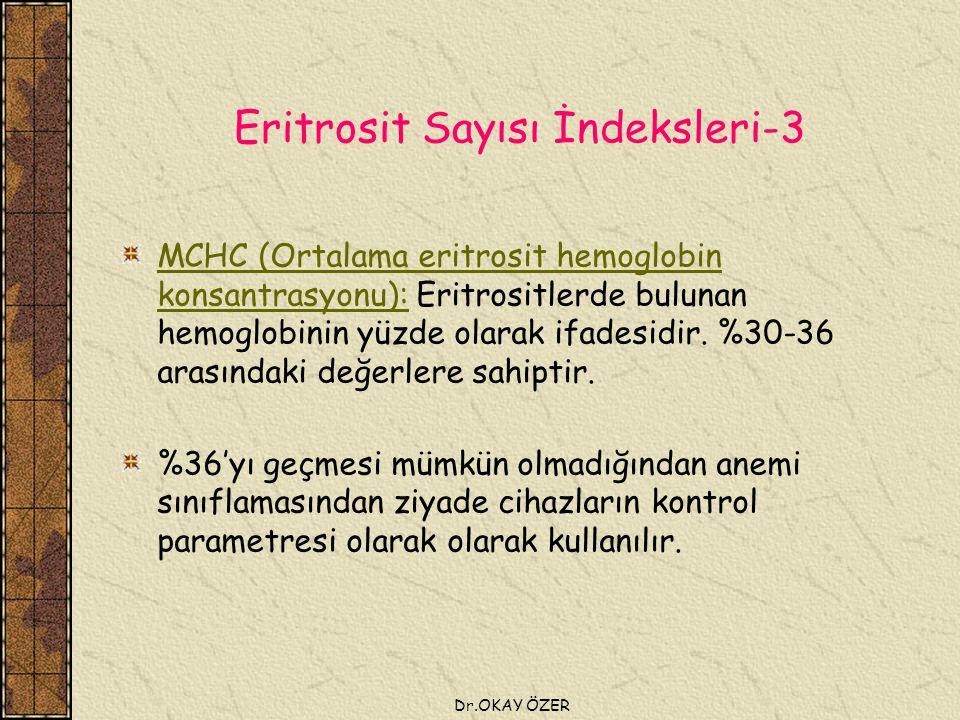 Dr.OKAY ÖZER Eritrosit Sayısı İndeksleri-3 MCHC (Ortalama eritrosit hemoglobin konsantrasyonu): Eritrositlerde bulunan hemoglobinin yüzde olarak ifadesidir.