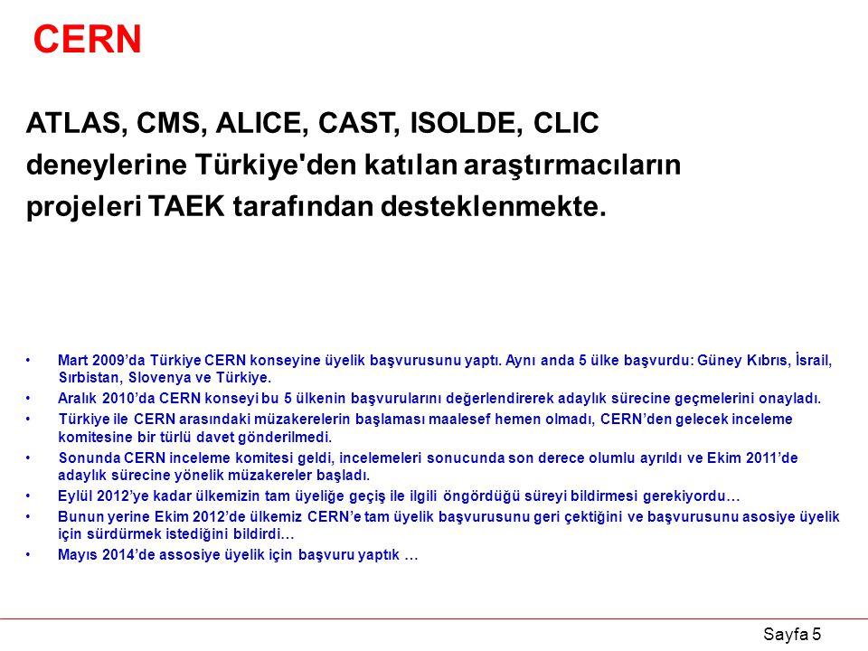 Sayfa 5 CERN ATLAS, CMS, ALICE, CAST, ISOLDE, CLIC deneylerine Türkiye'den katılan araştırmacıların projeleri TAEK tarafından desteklenmekte. Mart 200