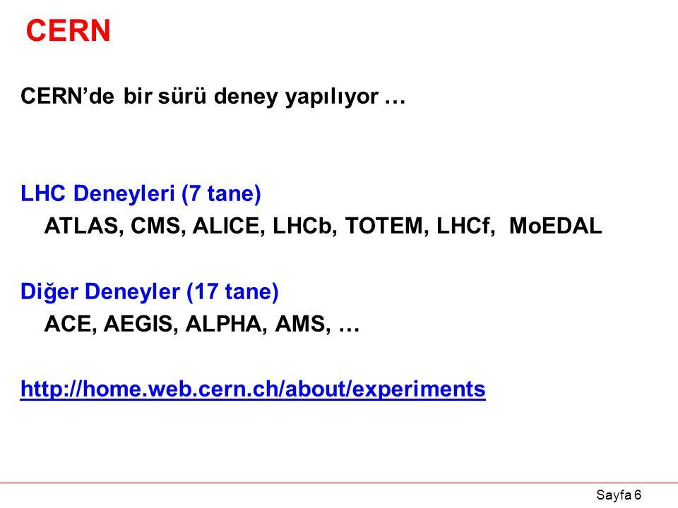 Sayfa 6 CERN CERN'de bir sürü deney yapılıyor … LHC Deneyleri (7 tane) ATLAS, CMS, ALICE, LHCb, TOTEM, LHCf, MoEDAL Diğer Deneyler (17 tane) ACE, AEGI