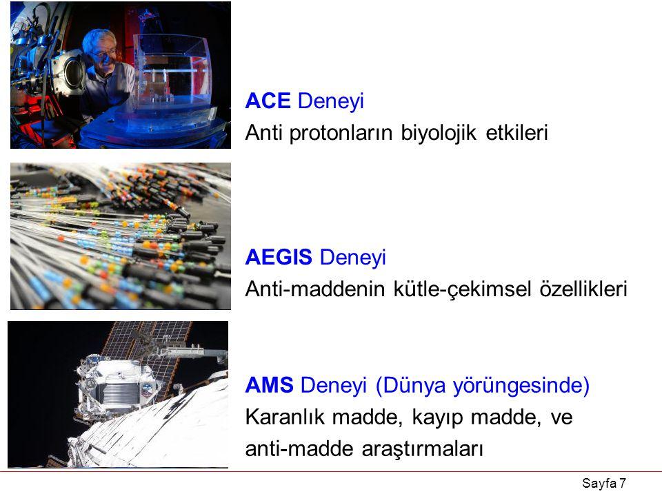 Sayfa 7 ACE Deneyi Anti protonların biyolojik etkileri AEGIS Deneyi Anti-maddenin kütle-çekimsel özellikleri AMS Deneyi (Dünya yörüngesinde) Karanlık