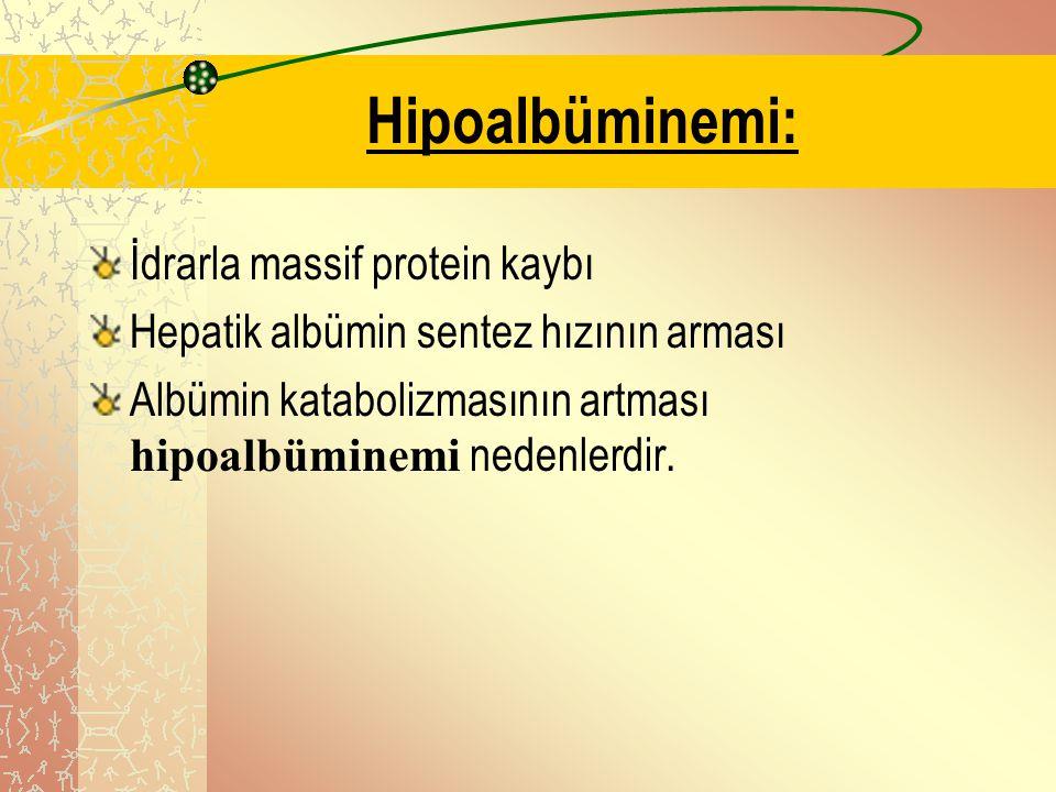Hipoalbüminemi: İdrarla massif protein kaybı Hepatik albümin sentez hızının arması Albümin katabolizmasının artması hipoalbüminemi nedenlerdir.