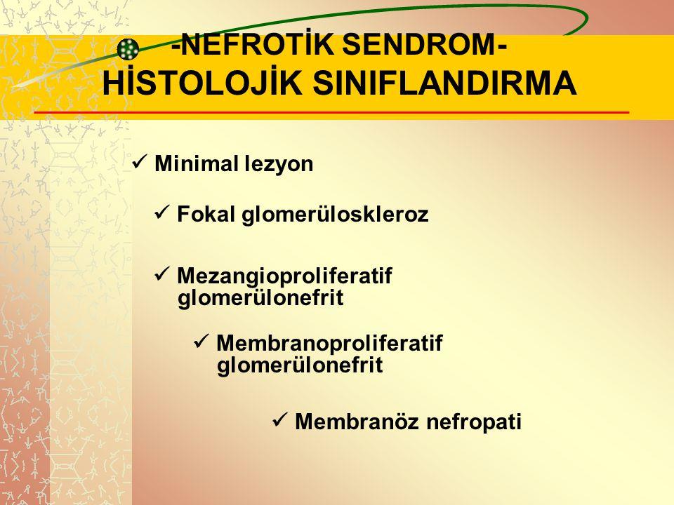 .. -NEFROTİK SENDROM- HİSTOLOJİK SINIFLANDIRMA Minimal lezyon Fokal glomerüloskleroz Mezangioproliferatif glomerülonefrit Membranoproliferatif glomerü