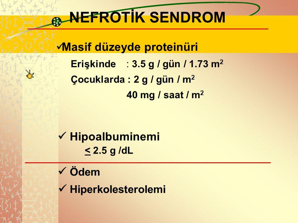 .. NEFROTİK SENDROM Masif düzeyde proteinüri Erişkinde : 3.5 g / gün / 1.73 m 2 Çocuklarda : 2 g / gün / m 2 40 mg / saat / m 2 Hipoalbuminemi < 2.5 g