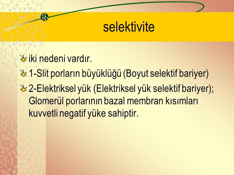 selektivite iki nedeni vardır. 1-Slit porların büyüklüğü (Boyut selektif bariyer) 2-Elektriksel yük (Elektriksel yük selektif bariyer); Glomerül porla