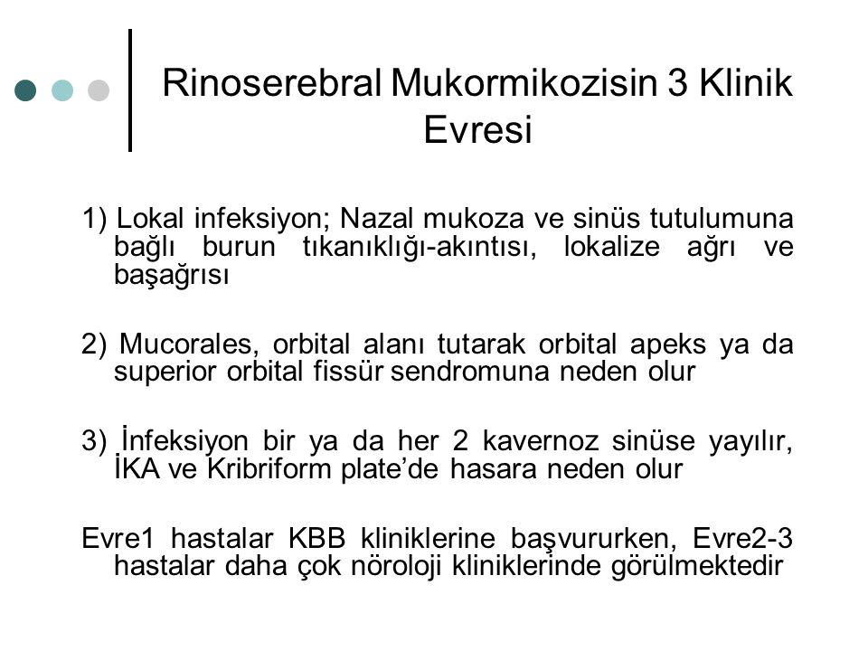Rinoserebral Mukormikozisin 3 Klinik Evresi 1) Lokal infeksiyon; Nazal mukoza ve sinüs tutulumuna bağlı burun tıkanıklığı-akıntısı, lokalize ağrı ve b