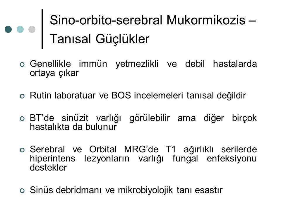 Sino-orbito-serebral Mukormikozis – Tanısal Güçlükler Genellikle immün yetmezlikli ve debil hastalarda ortaya çıkar Rutin laboratuar ve BOS incelemele