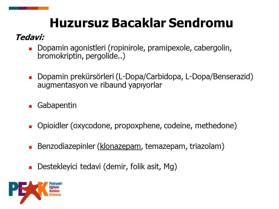 Huzursuz Bacaklar Sendromu Tedavi: Dopamin agonistleri (ropinirole, pramipexole, cabergolin, bromokriptin, pergolide..) Dopamin prekürsörleri (L-Dopa/Carbidopa, L-Dopa/Benserazid) augmentasyon ve ribaund yapıyorlar Gabapentin Opioidler (oxycodone, propoxphene, codeine, methedone) Benzodiazepinler (klonazepam, temazepam, triazolam) Destekleyici tedavi (demir, folik asit, Mg)