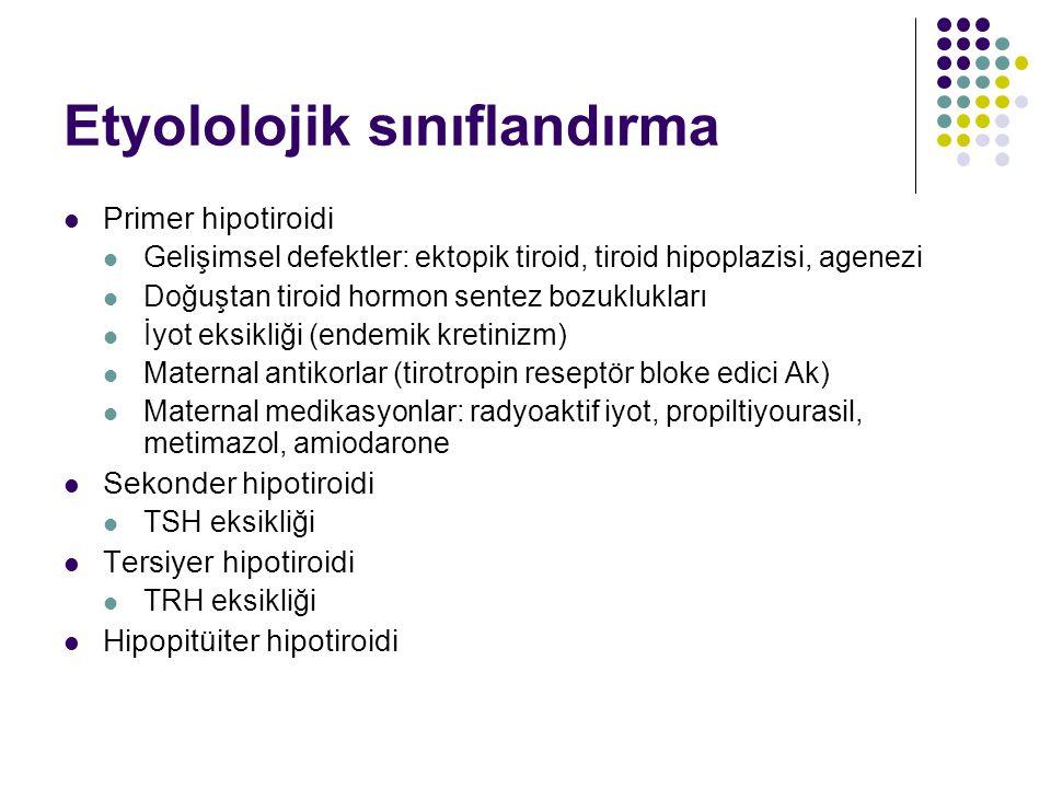 Etyololojik sınıflandırma Primer hipotiroidi Gelişimsel defektler: ektopik tiroid, tiroid hipoplazisi, agenezi Doğuştan tiroid hormon sentez bozuklukları İyot eksikliği (endemik kretinizm) Maternal antikorlar (tirotropin reseptör bloke edici Ak) Maternal medikasyonlar: radyoaktif iyot, propiltiyourasil, metimazol, amiodarone Sekonder hipotiroidi TSH eksikliği Tersiyer hipotiroidi TRH eksikliği Hipopitüiter hipotiroidi