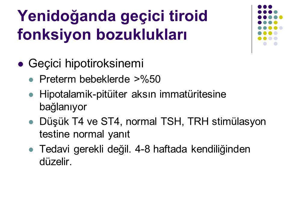 Yenidoğanda geçici tiroid fonksiyon bozuklukları Geçici hipotiroksinemi Preterm bebeklerde >%50 Hipotalamik-pitüiter aksın immatüritesine bağlanıyor Düşük T4 ve ST4, normal TSH, TRH stimülasyon testine normal yanıt Tedavi gerekli değil.