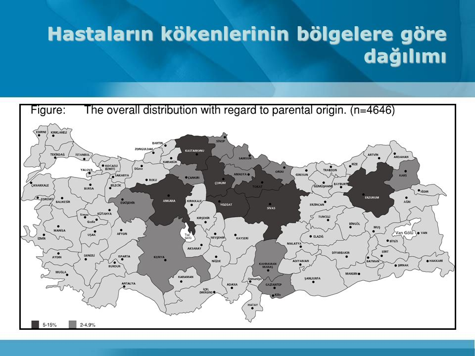 Hastaların kökenlerinin bölgelere göre dağılımı