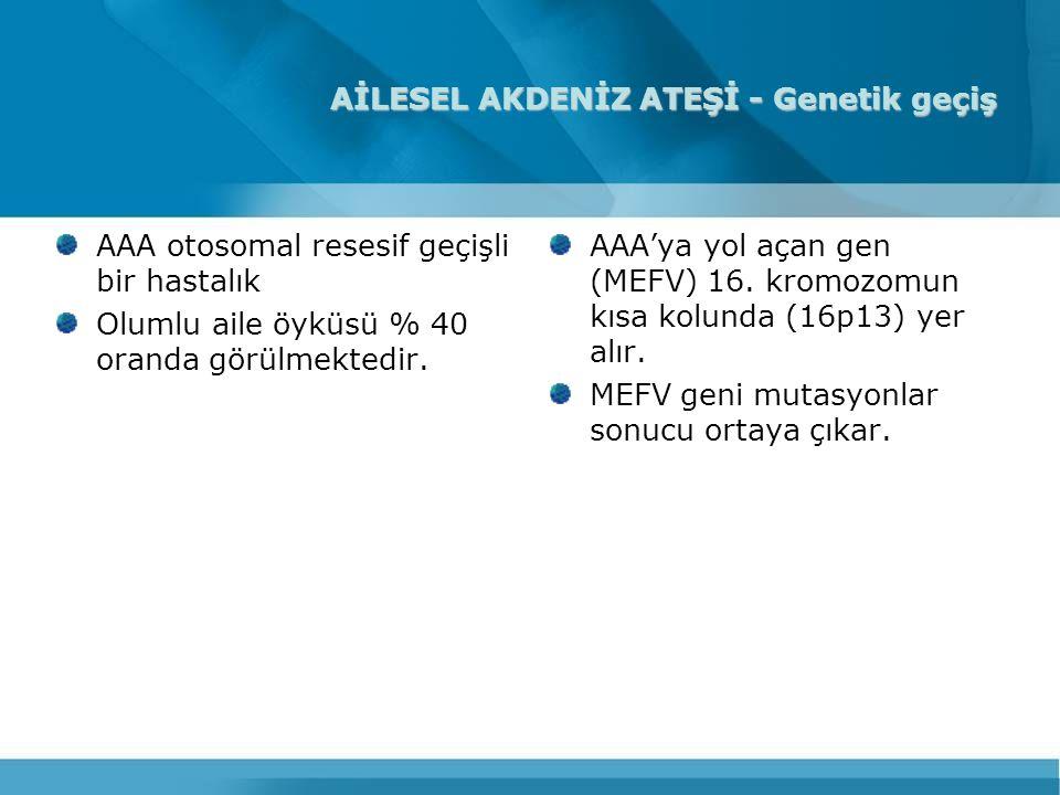 AİLESEL AKDENİZ ATEŞİ - Genetik geçiş AAA otosomal resesif geçişli bir hastalık Olumlu aile öyküsü % 40 oranda görülmektedir. AAA'ya yol açan gen (MEF