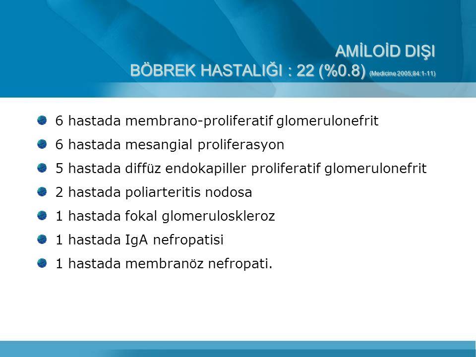 AMİLOİD DIŞI BÖBREK HASTALIĞI : 22 (%0.8) (Medicine 2005;84:1-11) 6 hastada membrano-proliferatif glomerulonefrit 6 hastada mesangial proliferasyon 5